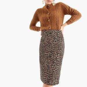 J Crew Leopard Print Pencil Skirt